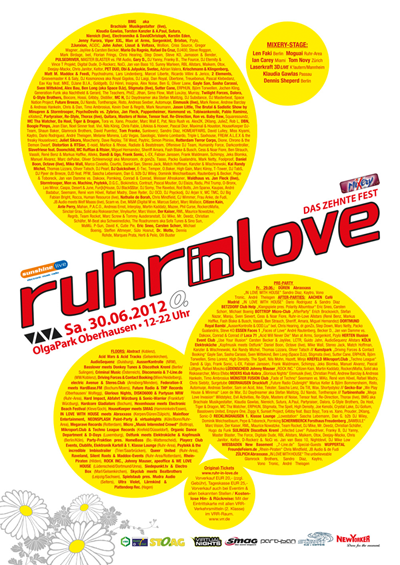 Ruhr-in-Love 2012: Timetable steht!