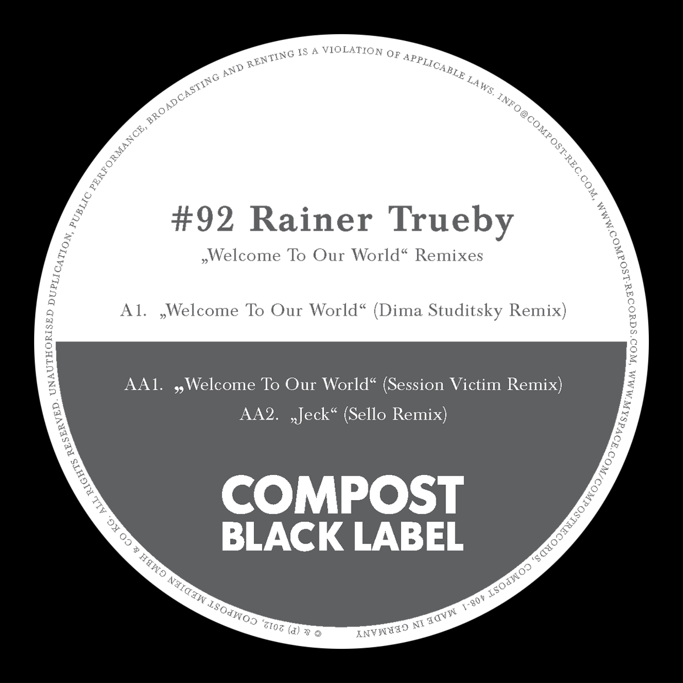 Rainer Trüby – Black Label #92: Welcome To Our World Remixes (Compost Records)